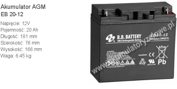 Akumulator 12V 20Ah BB Battery EB 20-12. 12 20 AGM.