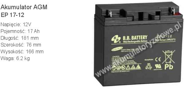 Akumulator 12V 17Ah BB Battery EP 17-12. 12 17 AGM.
