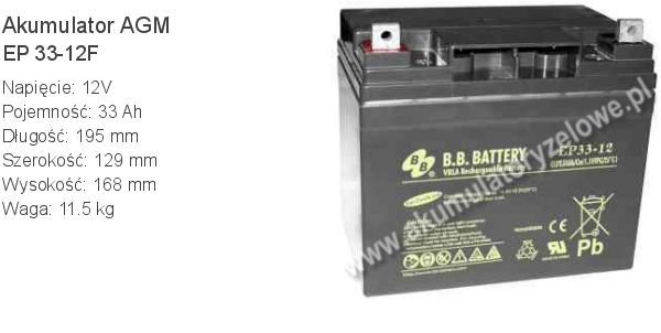 Akumulator 12V 33Ah BB Battery EP 33-12F. 12 33 AGM.