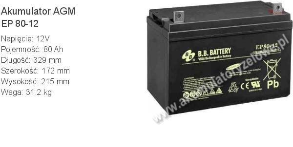 Akumulator 12V 80Ah BB Battery EP 80-12. 12 80 AGM.