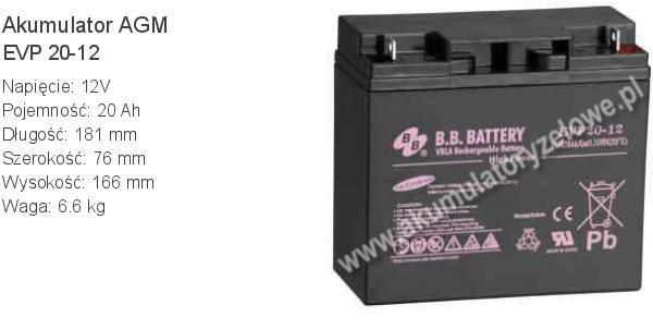 Akumulator 12V 20Ah BB Battery EVP 20-12. 12 20 AGM.
