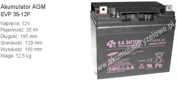 Akumulator 12V 35Ah BB Battery EVP 35-12F. 12 35 AGM.