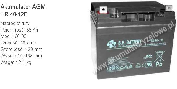 Akumulator 12V 38Ah BB Battery HR 40-12F. 12 40 AGM.