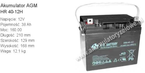 Akumulator 12V 38Ah BB Battery HR 40-12H. 12 40 AGM.