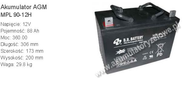 Akumulator 12V 88Ah BB Battery MPL 90-12H. 12 90 AGM.