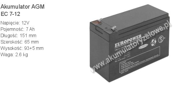 Akumulator 12V 7Ah EUROPOWER EC 7-12 151x65x93+5mm 12 7 AGM.