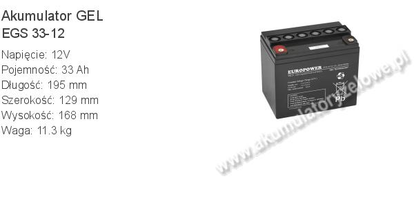 Akumulator 12V 33Ah EUROPOWER EGS 33-12. 12 33 GEL.