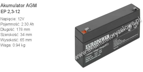 Akumulator 12V 2.3Ah EUROPOWER EP 2.3-12 178x34x60+5mm 12 2.3 AGM.