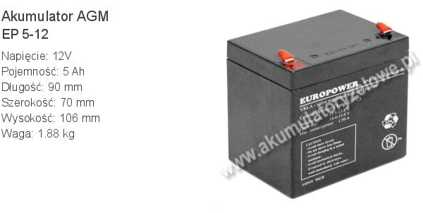 Akumulator 12V 5Ah EUROPOWER EP 5-12 90x70x102+4mm 1.8kg 12 5 AGM.