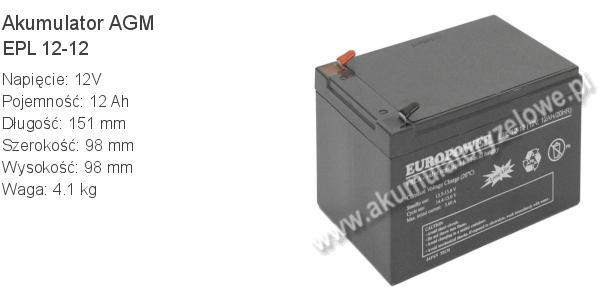Akumulator 12V 12Ah EUROPOWER EPL 12-12 151x98x94+4mm 4.1kg 12 12 AGM.