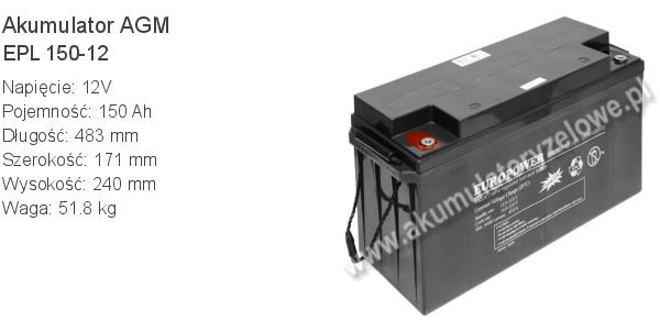 Akumulator 12V 150Ah EUROPOWER EPL 150-12 483x171x240mm 51.8kg 12 150 AGM.