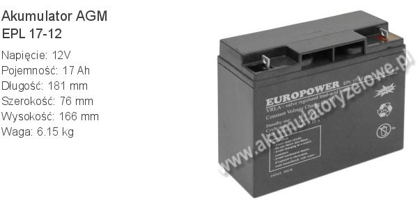 Akumulator 12V 17Ah EUROPOWER EPL 17-12 181x76x166mm 6.15kg 12 17 AGM.