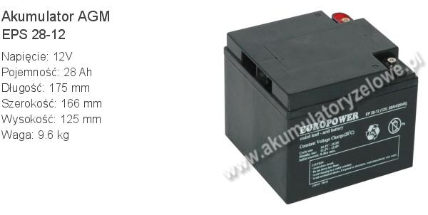Akumulator 12V 28Ah EUROPOWER EPS 28-12 175x166x125mm 12 28 AGM.
