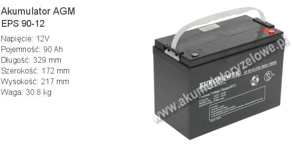 Akumulator 12V 90Ah EUROPOWER EPS 90-12 329x172x217mm 30.8kg 12 90 AGM.