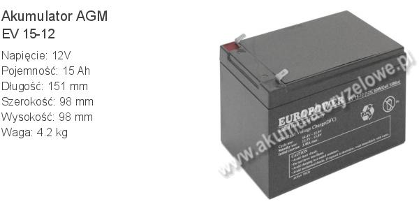 Akumulator 12V 15Ah EUROPOWER EV 15-12 151x98x94+4mm 12 15 AGM.