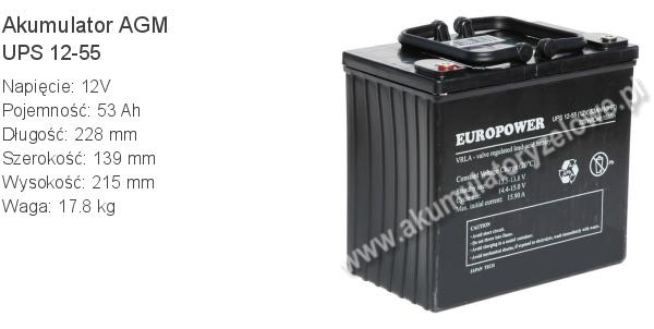 Akumulator 12V 53Ah EUROPOWER UPS 12-55 228x139x215mm 17.8kg 55 12 AGM.