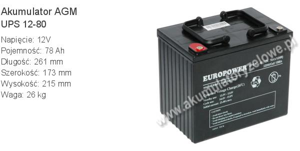 Akumulator 12V 78Ah EUROPOWER UPS 12-80 260x173x215mm 26kg 80 12 AGM.