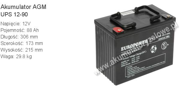 Akumulator 12V 88Ah EUROPOWER UPS 12-90 306x173x215mm 29.8kg 90 12 AGM.