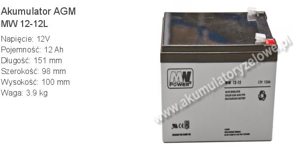 Akumulator 12V 12Ah MW Power MW 12-12L 151x98x100mm 12 12 AGM.
