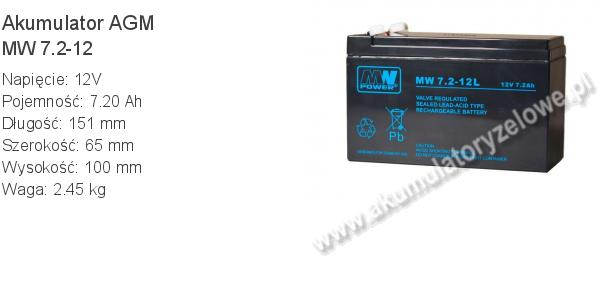 Akumulator 12V 7Ah MW Power MW 7,2-12. 12 7 AGM.