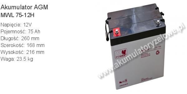 Akumulator 12V 75Ah MW Power MWL 75-12H 260x168x216mm 23.5kg 12 75 AGM.