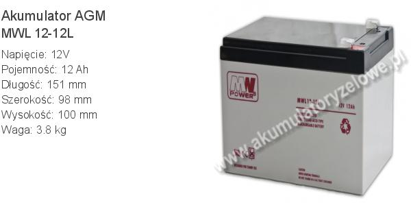 Akumulator 12V 12Ah MW Power MWL 12-12L 151x98x100mm 3.8kg 12 12 AGM.