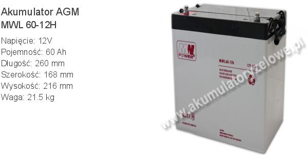 Akumulator 12V 60Ah MW Power MWL 60-12H 260x168x216mm 21.5kg 12 60 AGM.
