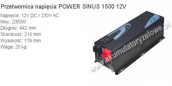 Przetwornica VOLT 12V/230V POWER SINUS 1500 12V 442x218x179mm 20kg